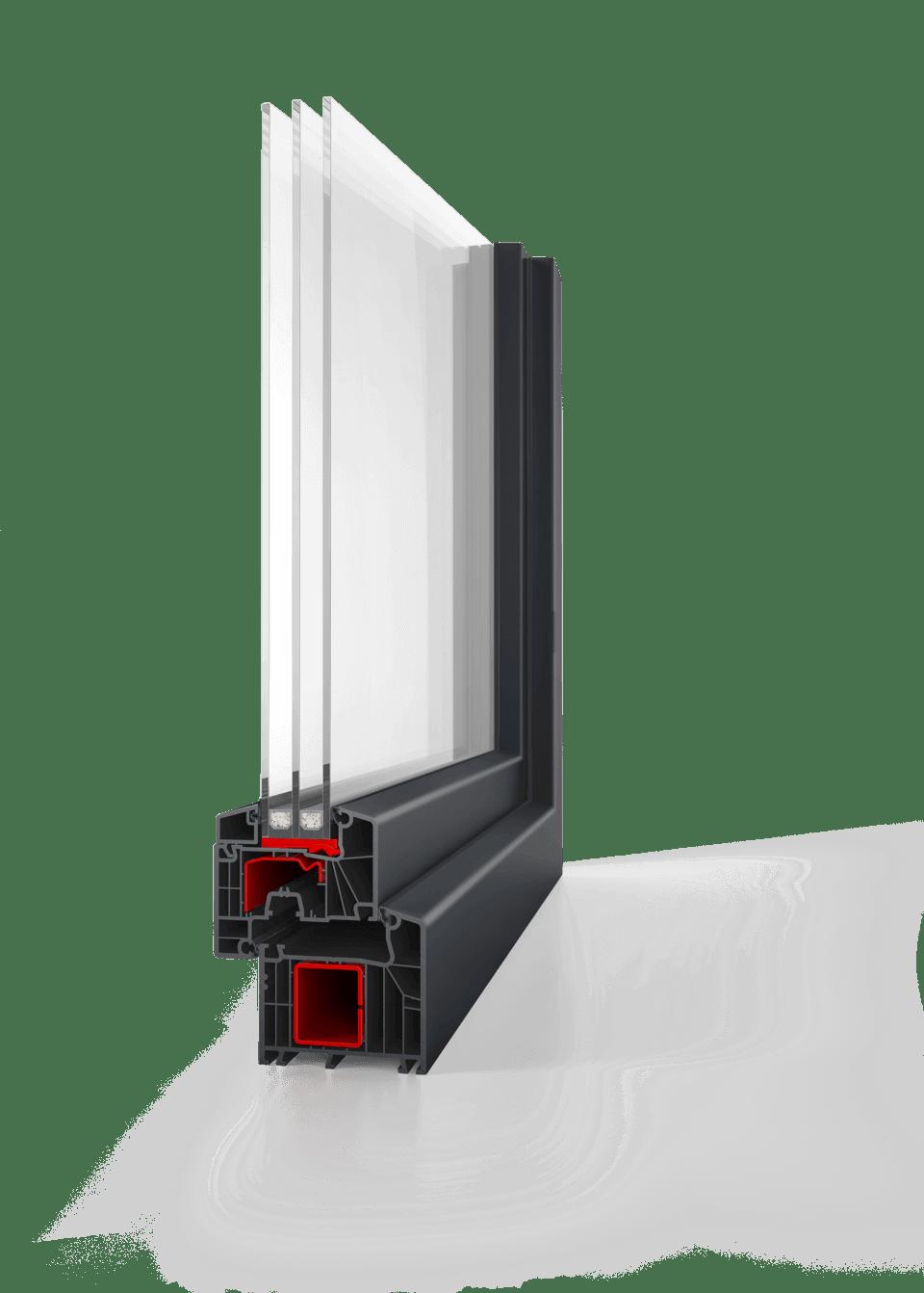 antracit ablak szürke profillal